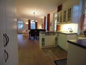 Offene Küche mit Ess- und Wohnbereich