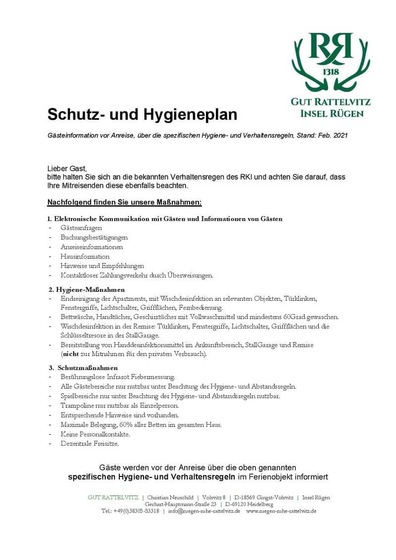 Schutz Hygieneplan Gut Rattelvitz 2021